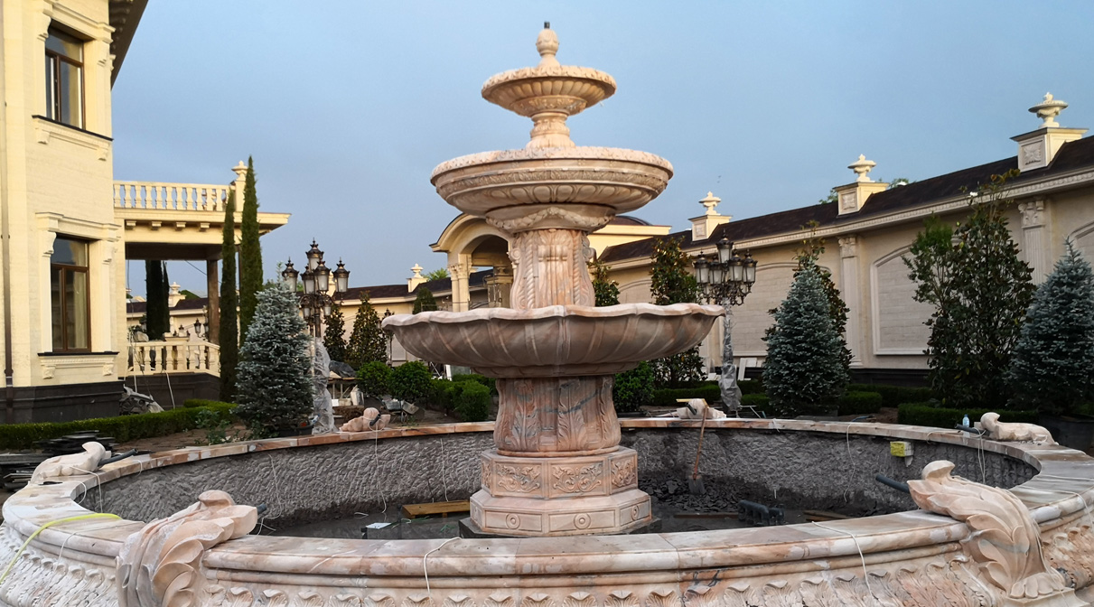 The Three-Story Fountain In The Garden Of The Presidential Palace
