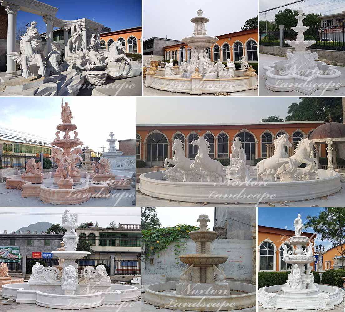 White marble lion water fountain