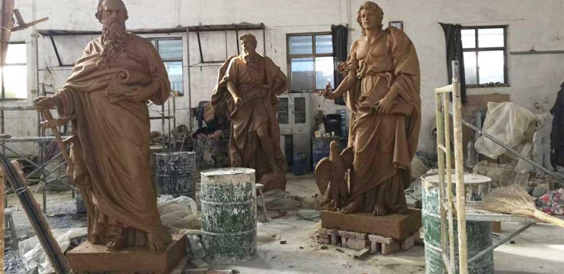bronze horse and angel sculpture
