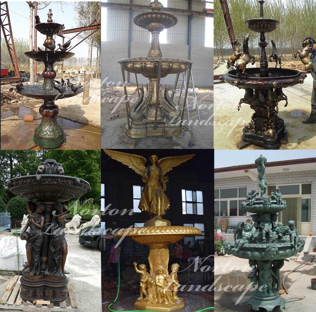 Bronze woman statues fountain