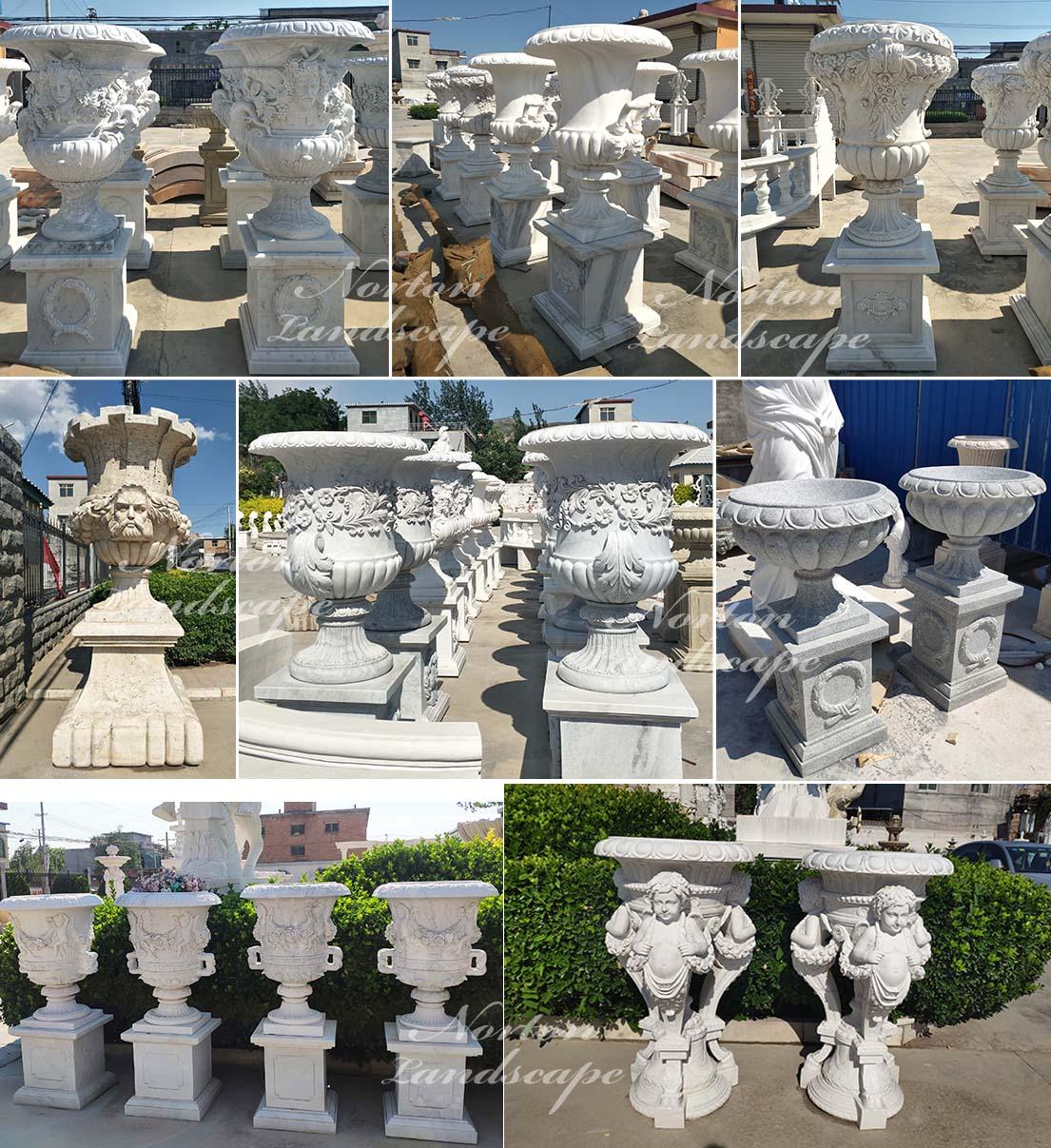 white marble flowerpot