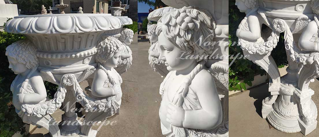 marble flowerpot with children statues