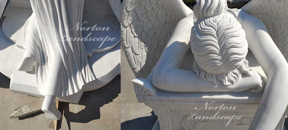 Weeping angel tombstone sculpture