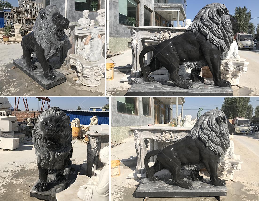 black marble lion statue