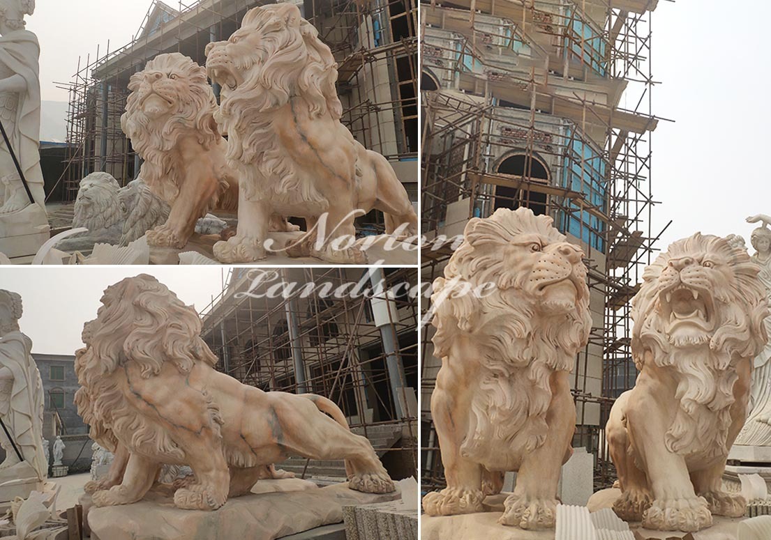 Sunset red marble lion statues