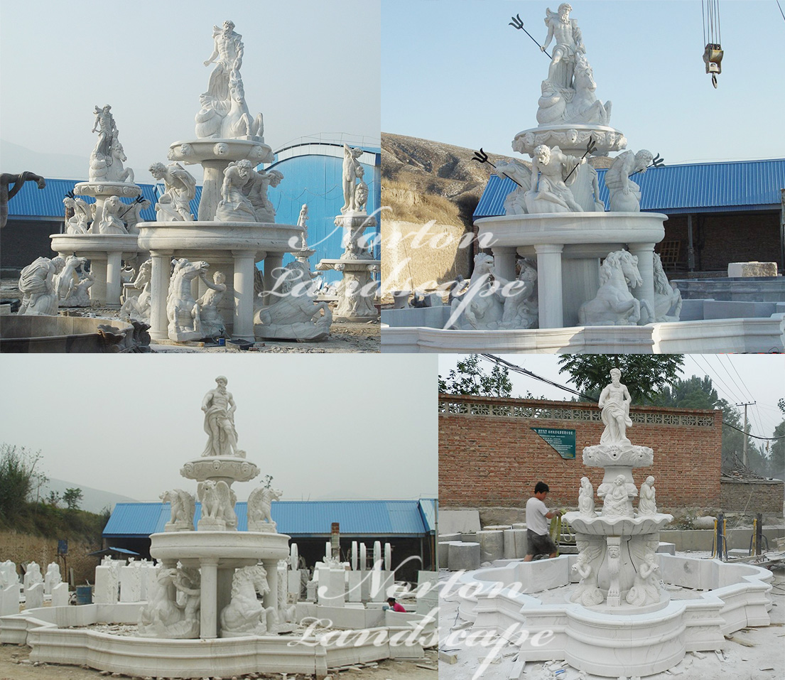 Large marble fountain with statues