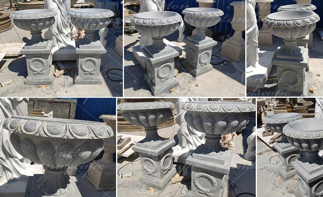 Large hand carved granite flowerpot