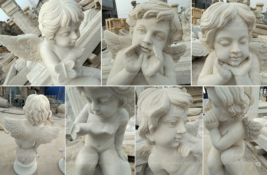 Marble cherub statue