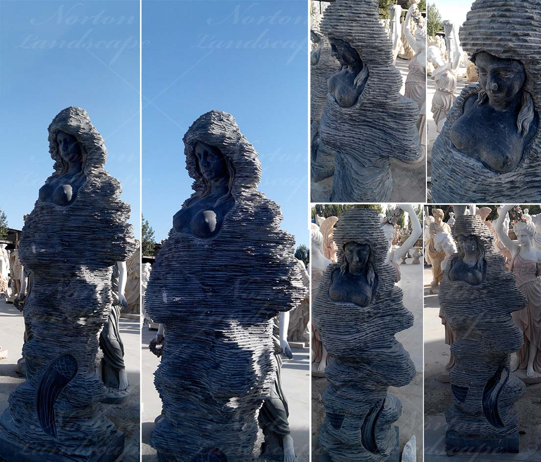 Black abstract marble woman statue