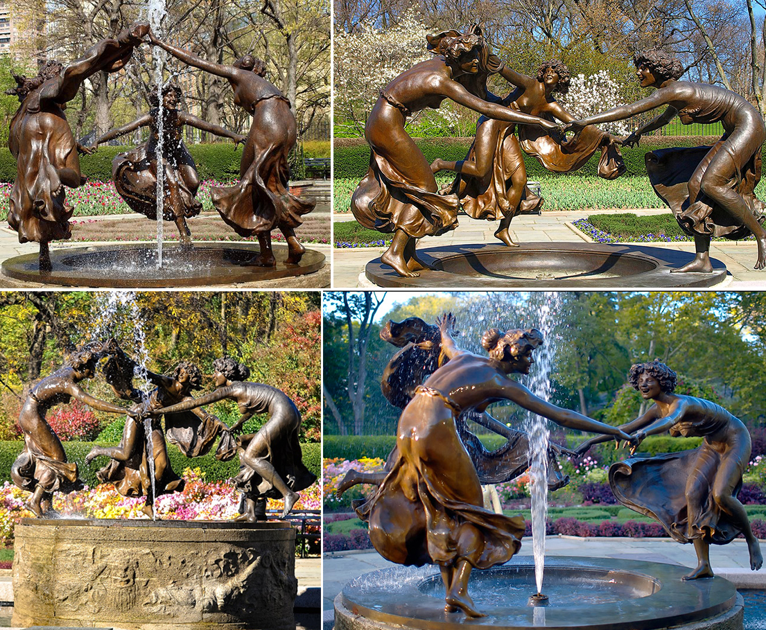 Bronze women playing statue fountain