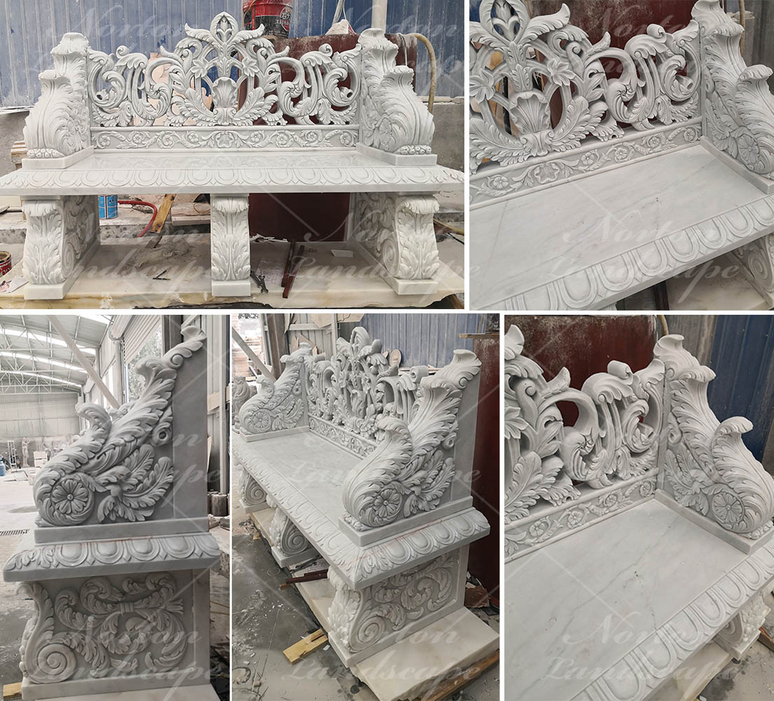Luxury carved white marble bench