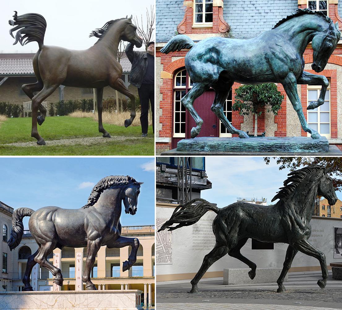 Antique bronze running horse statue
