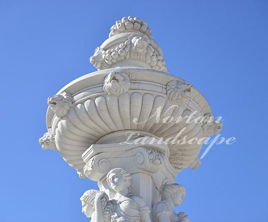 White marble lion water fountain