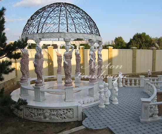 European style marble gazebo with woman statue