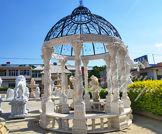 Carved pattern marble gazebo
