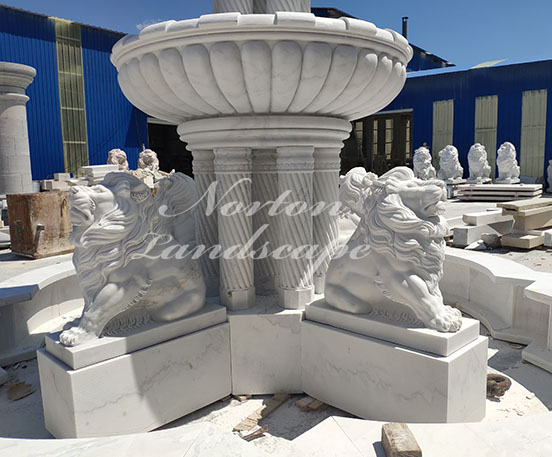 large lion statues fountain