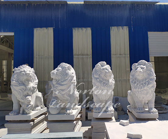 Large white stone marble lion statue