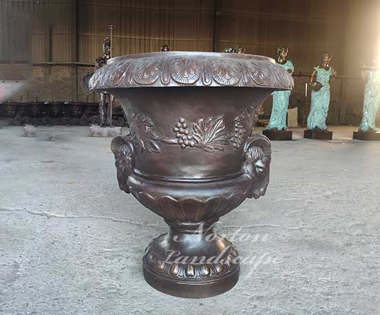 brass flowerpot with sheep head