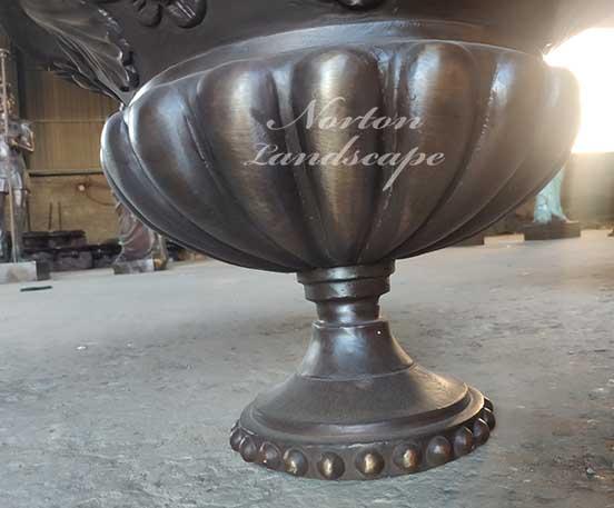 Hand-carved bronze flowerpot