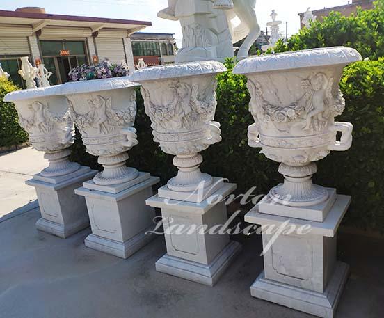 European style white marble flowerpot