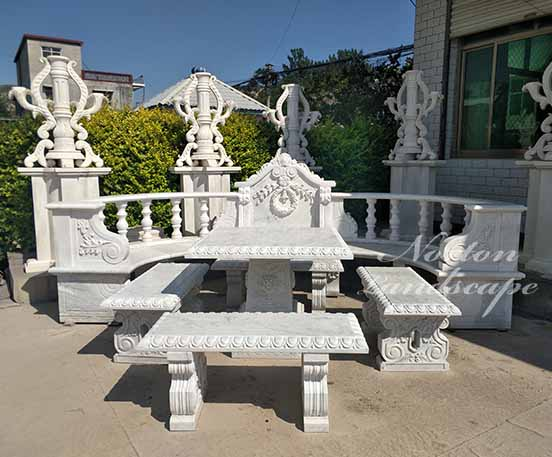 white marble table and bench