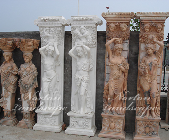 marble pillar with woman statues