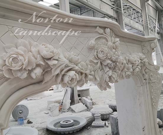 European style luxury carved fireplace