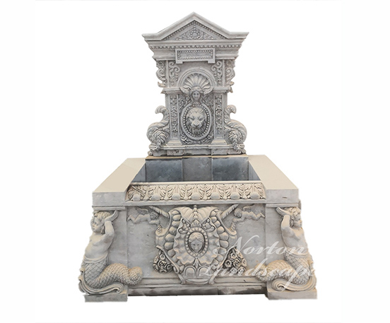 Luxury marble fountain with carved statues