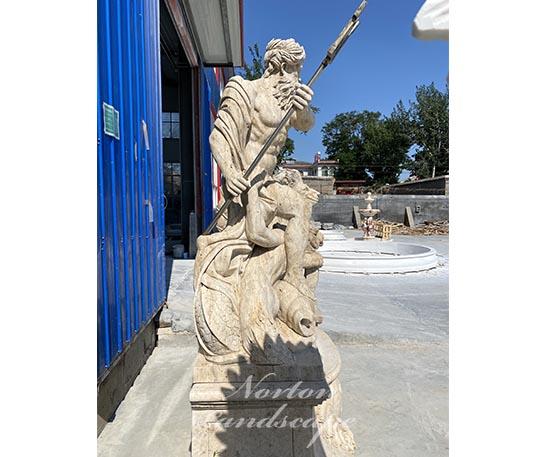 Antique stone Poseidon sculpture
