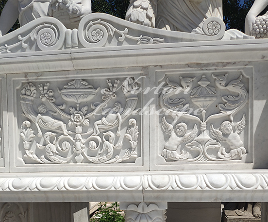 White carved marble bench