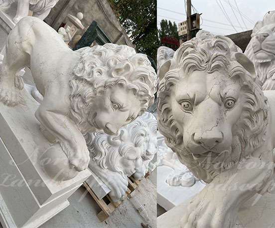Marble stone lion statue