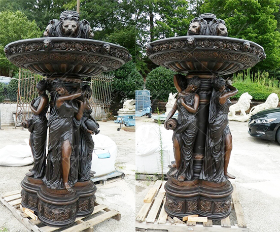 Bronze woman statue fountain