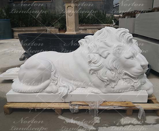 Marble lying lion sculpture