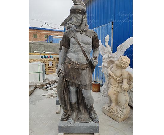 Antique marble soldier statue