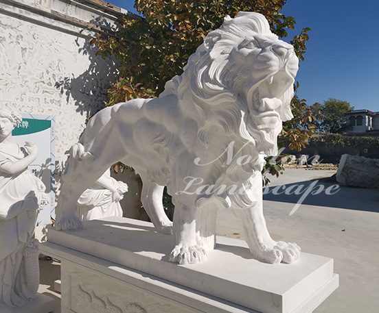 Large marble lion statue