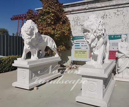 Large marble lion statue
