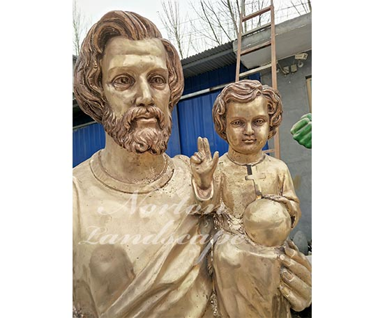 Bronze religion man and child statue