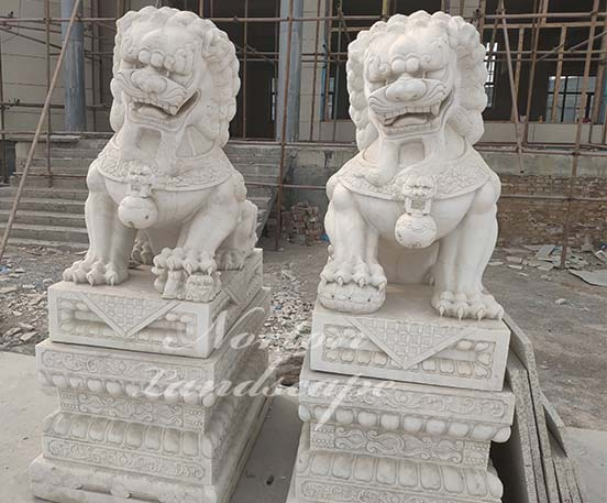 Large marble foo dog statues