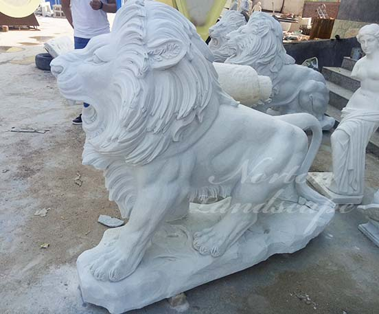 Natural stone lion statues