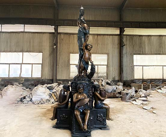 Large woman and children statues bronze fountain