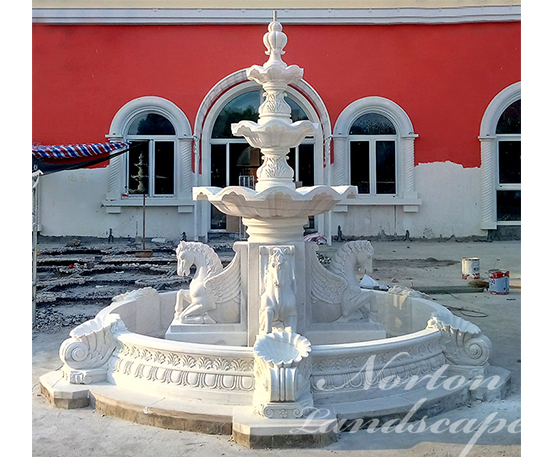 Antique Granite Horse Statues Water Fountain