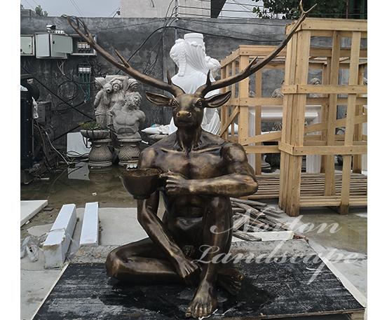 Bronze art deer head figure statue