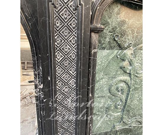 Luxury black stone marble fireplace