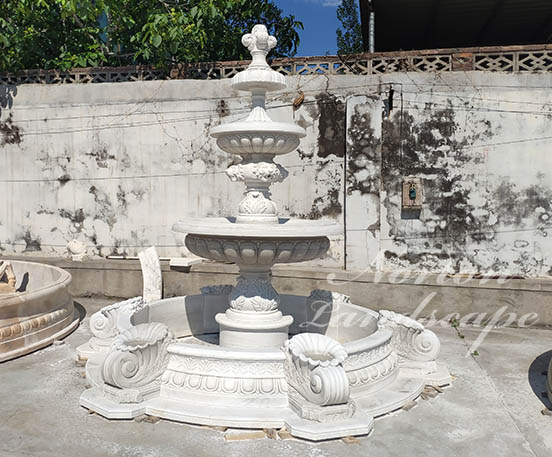 European style white marble water fountain