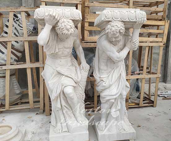 Marble roman figure statues pillar
