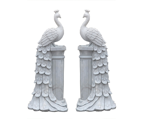 Marble peacock statue
