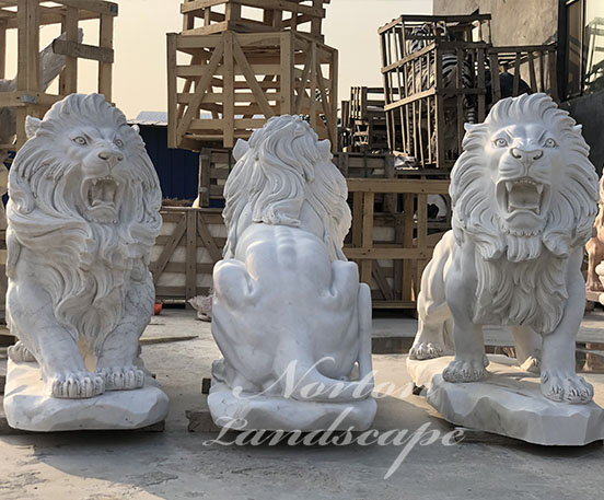 Custom stone lion statues