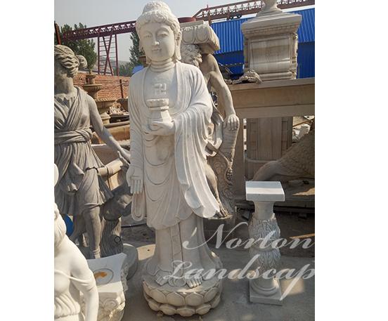 White marble standing buddha statue