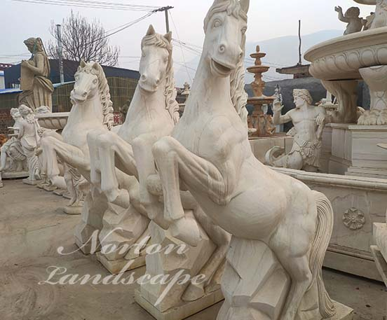 Marble horse statues