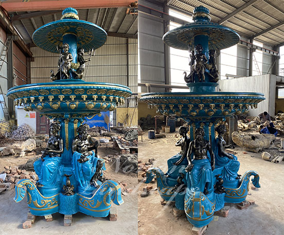 Large luxury bronze water fountain with statues